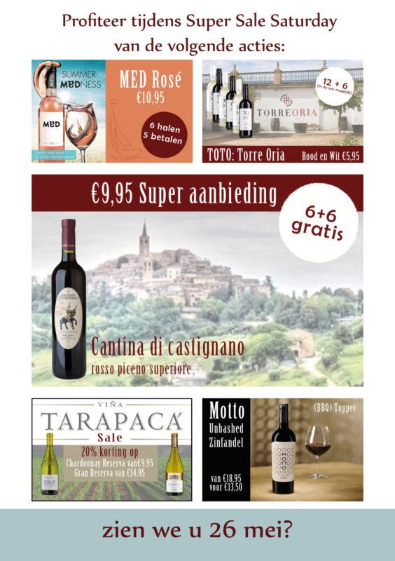 Super Sale Saturday wijn aanbiedingen van Wijnhandel van Welie in Gouda