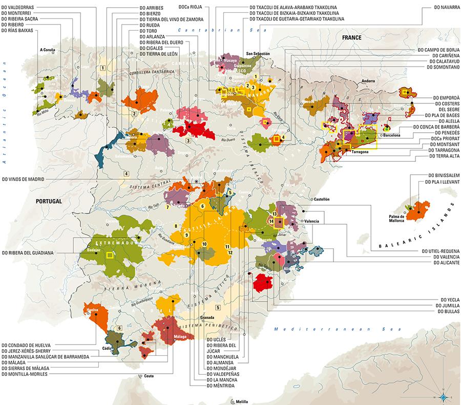 Wijnkaart van Spanje met alle wijnregio's